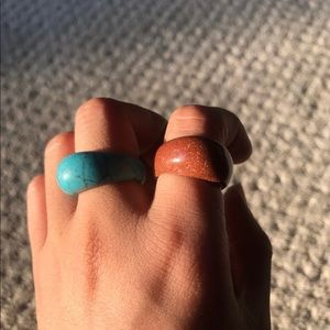 Jewelry - Sandstone and turquoise stone ring carved